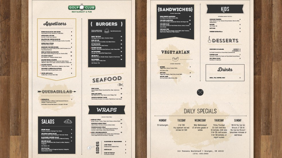 The Golf Club Restaurant Menu Design