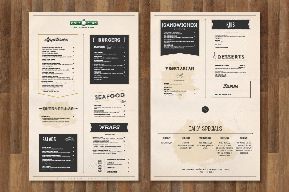 the golf club menu design brandon tabor