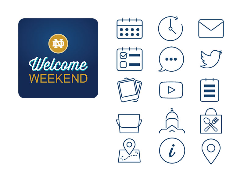 Notre Dame Welcome Weekend App Icons